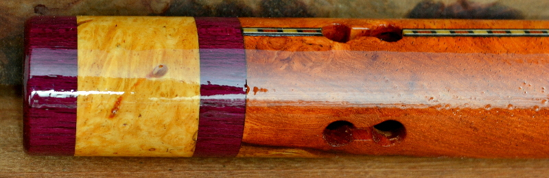 Afzelia Burl  Flute with End Caps and Inlay by Laughing Crow