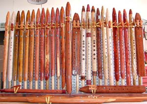 Rack of Native American Flutes by Lauging Crow